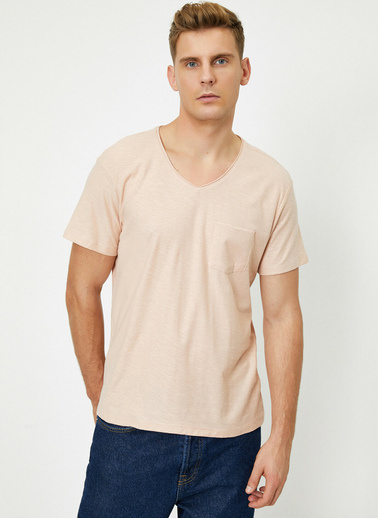 Koton V Yaka Cebi Flamli Slim Fit Basic T-Shirt Pembe